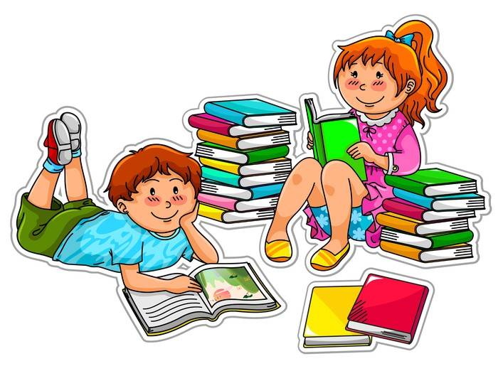 two kids reading books